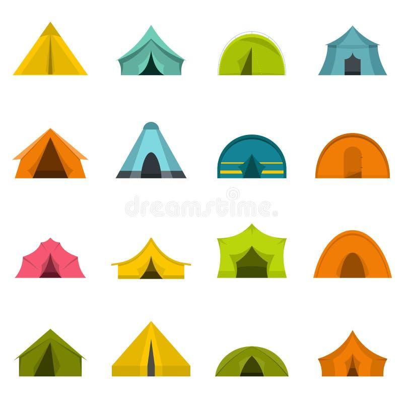 Namiotowe form ikony ustawiać w mieszkanie stylu royalty ilustracja