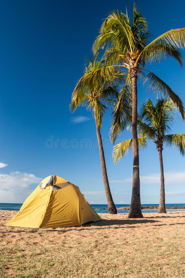 Namiotowy camping na wyspie Kauai fotografia royalty free