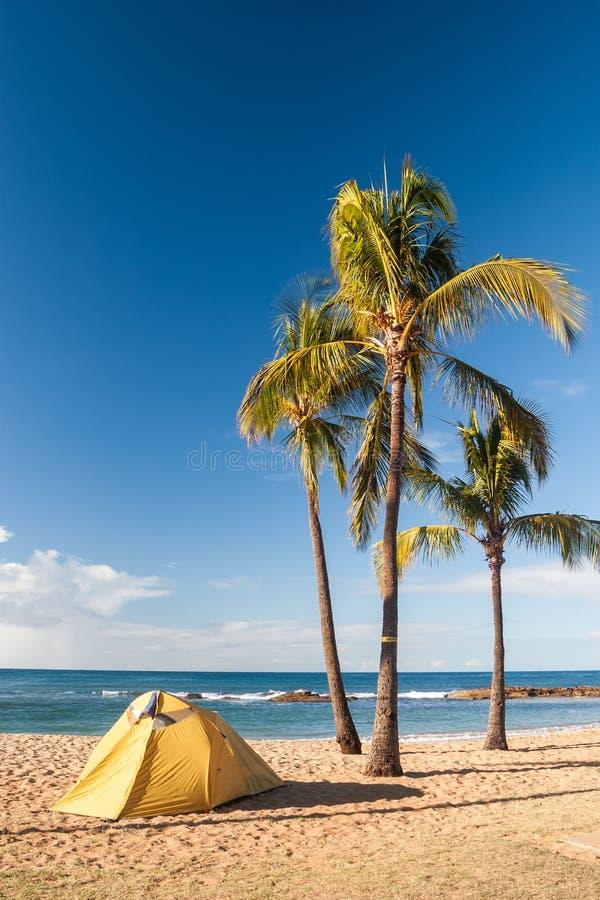 Namiotowy camping na wyspie Kauai obrazy stock