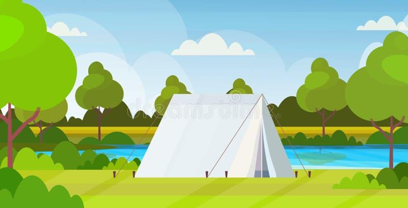 Namiotowy campingowy terenu campsite blisko rzecznego obóz letni podróży wakacje pojęcia krajobrazu natury tła mieszkania horyzon ilustracji