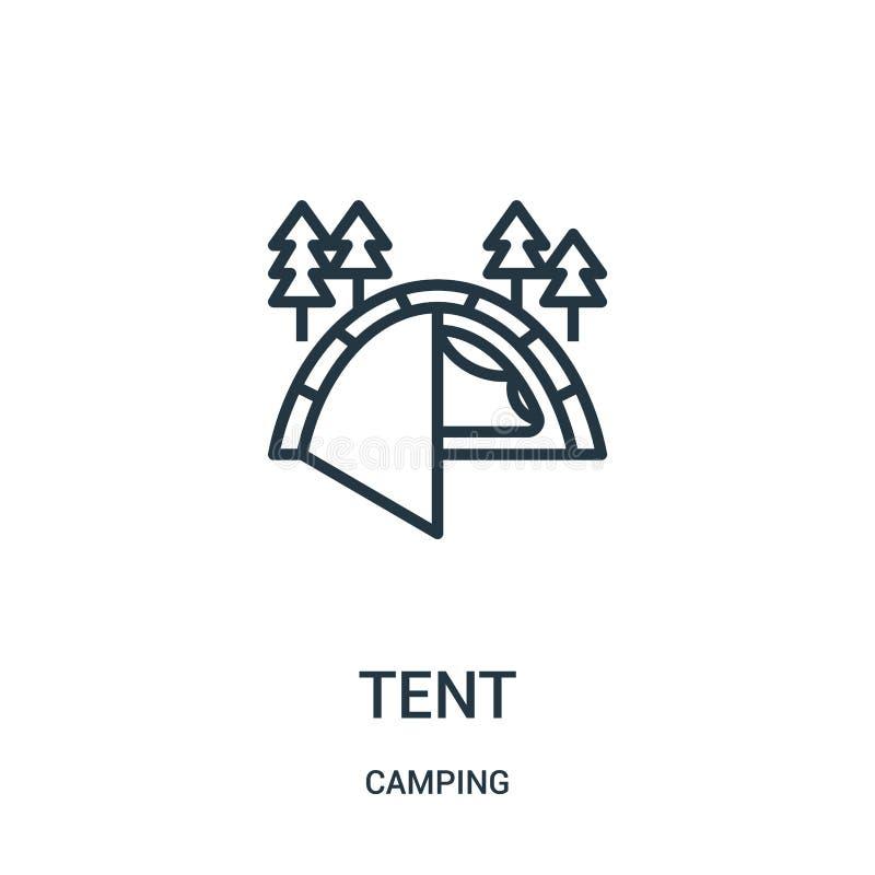namiotowy ikona wektor od campingowej kolekcji Cienka kreskowa namiotowa kontur ikony wektoru ilustracja Liniowy symbol royalty ilustracja