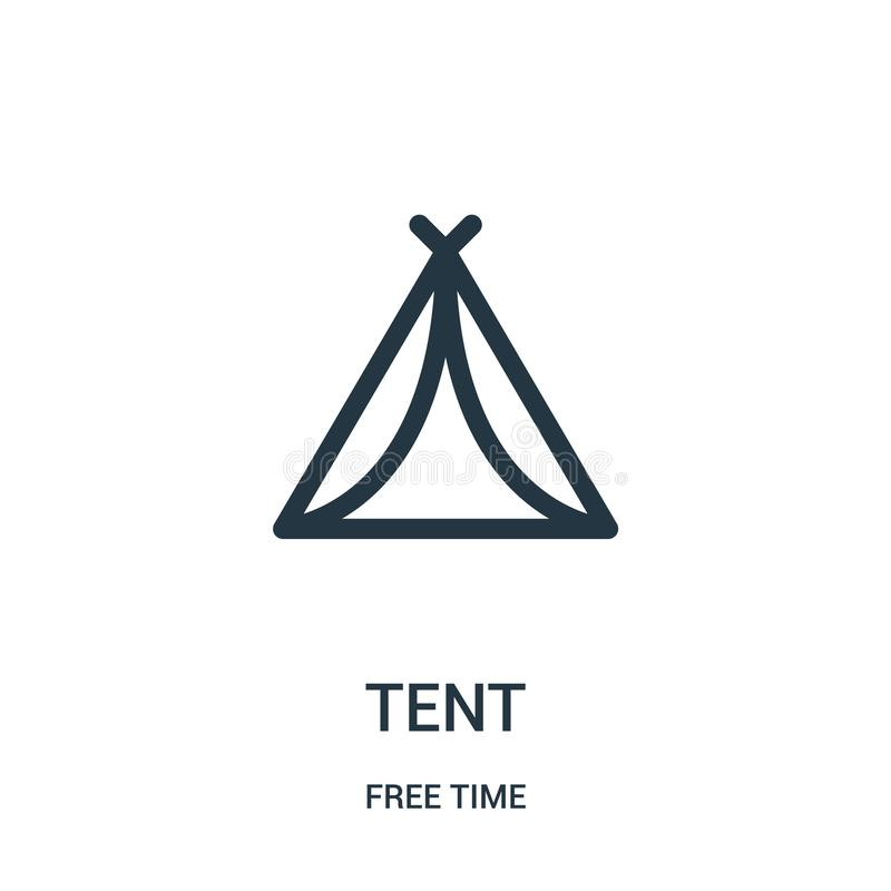 namiotowy ikona wektor od czas wolny kolekcji Cienka kreskowa namiotowa kontur ikony wektoru ilustracja Liniowy symbol dla używa  royalty ilustracja