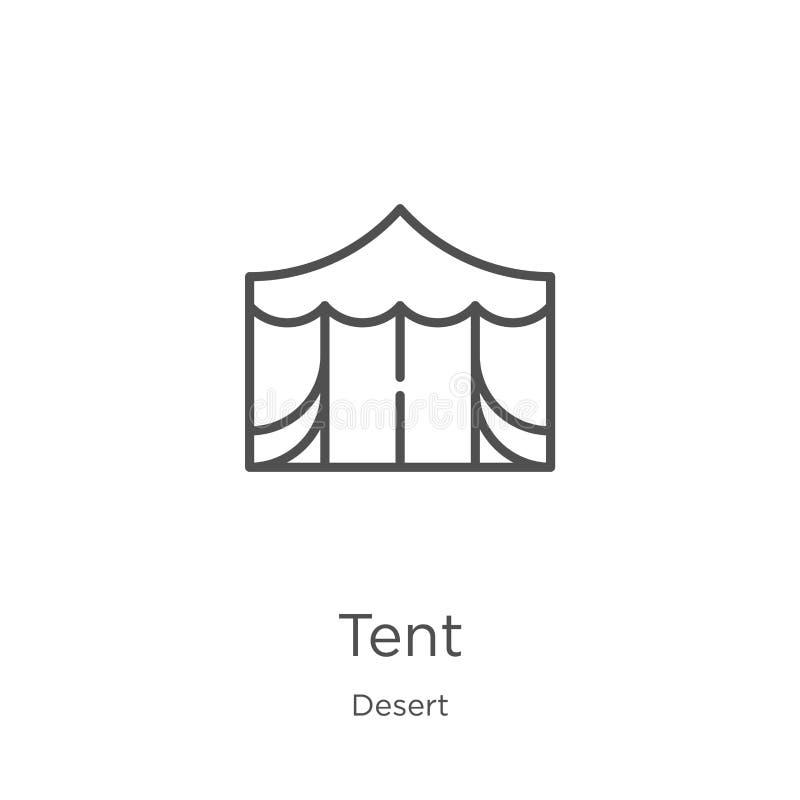 namiotowy ikona wektor od pustynnej kolekcji Cienka kreskowa namiotowa kontur ikony wektoru ilustracja Kontur, cienieje kreskow?  royalty ilustracja
