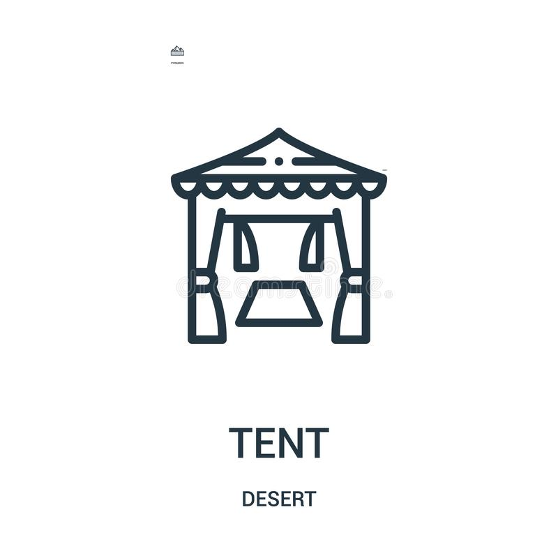 namiotowy ikona wektor od pustynnej kolekcji Cienka kreskowa namiotowa kontur ikony wektoru ilustracja Liniowy symbol dla używa n ilustracji