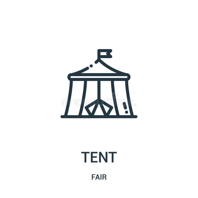 namiotowy ikona wektor od uczciwej kolekcji Cienka kreskowa namiotowa kontur ikony wektoru ilustracja Liniowy symbol dla używa na ilustracja wektor