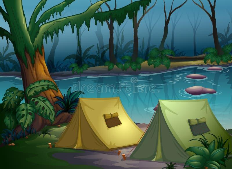 Namiotowy obóz w drewnach royalty ilustracja