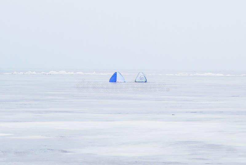 Namioty dla zima połowu zdjęcia royalty free