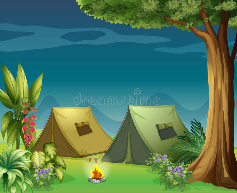 Namioty w dżungli ilustracja wektor