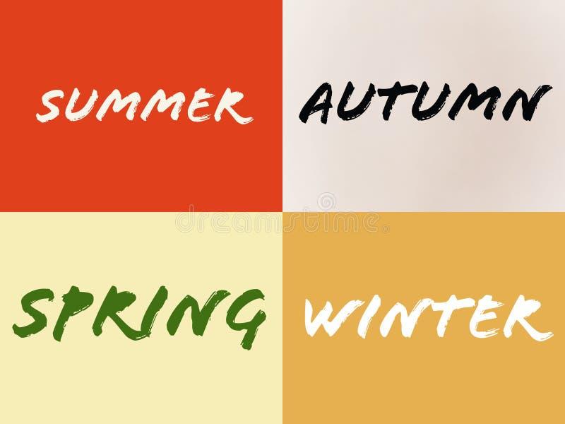 Namn av för sommarvinter för fyra säsonger våren för höst stock illustrationer