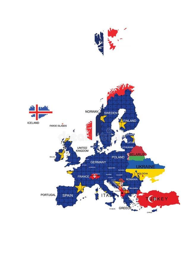 Namn för europeisk för fackligt territorium översikt och lands royaltyfri illustrationer