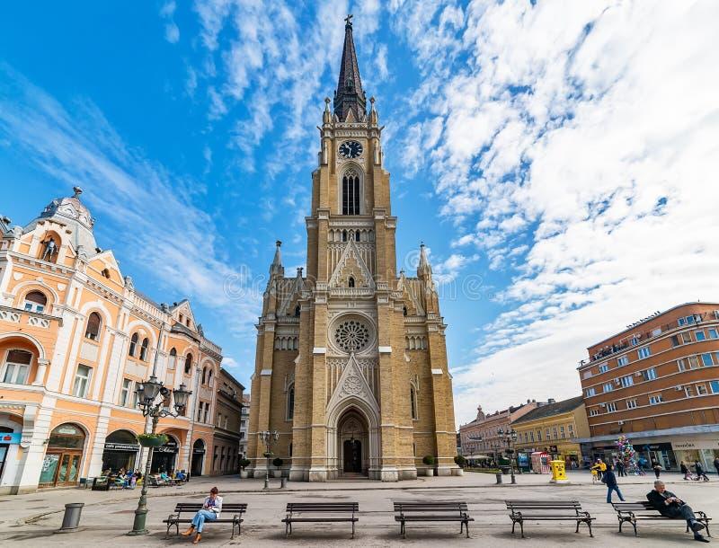 Namnet av Mary Church är en romare - katolsk församlingkyrka i Novi Sad, Serbien royaltyfri foto