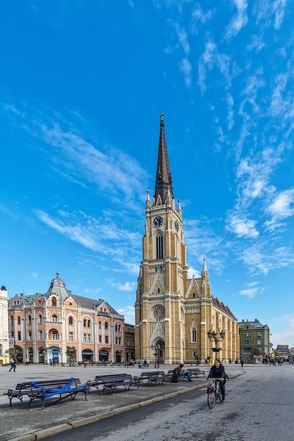 Namnet av Mary Church är en romare - katolsk församlingkyrka i Novi Sad, Serbien royaltyfri bild