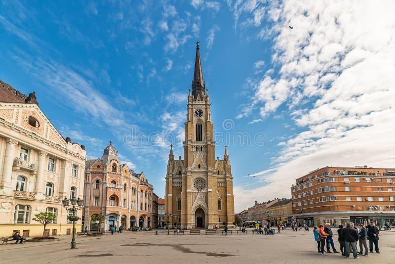 Namnet av Mary Church är en romare - katolsk församlingkyrka i Novi Sad, Serbien royaltyfria foton