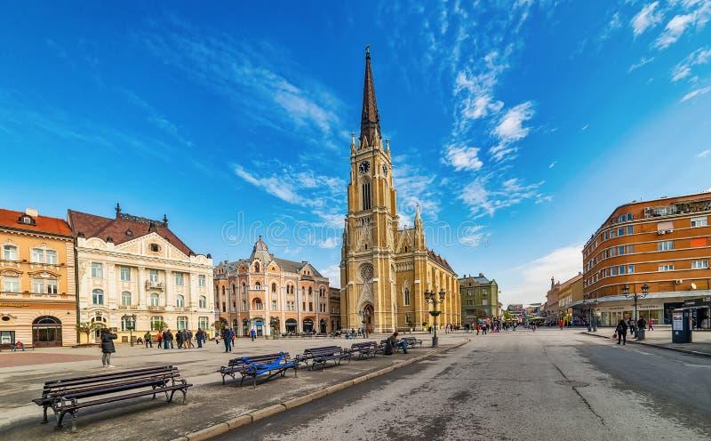 Namnet av Mary Church är en romare - katolsk församlingkyrka i Novi Sad, Serbien arkivfoto