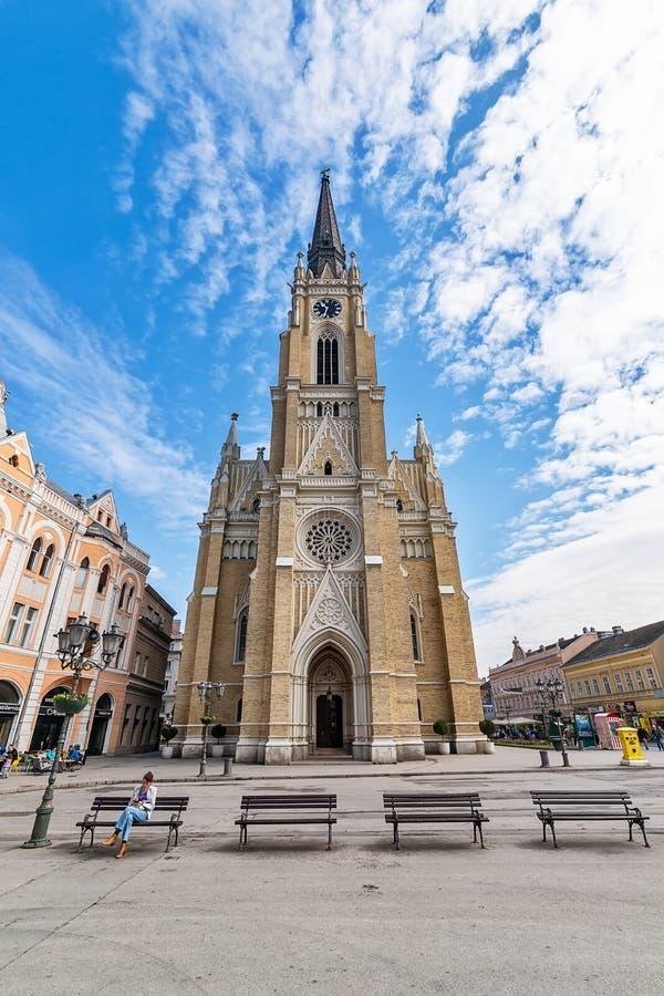 Namnet av Mary Church är en romare - katolsk församlingkyrka i Novi Sad, Serbien fotografering för bildbyråer