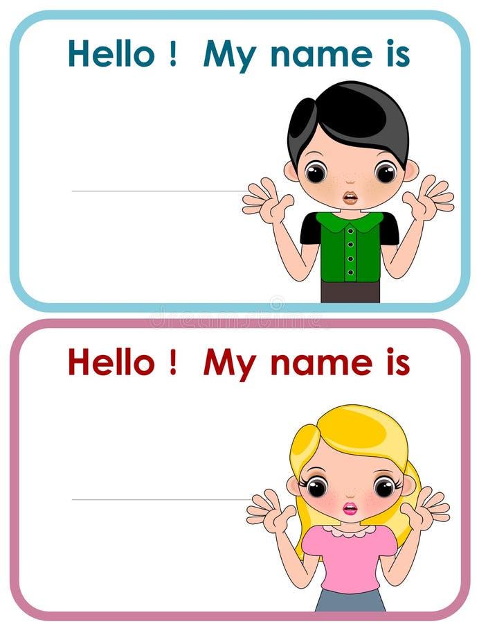 Namnetikett för fastställda illustrationer för ungar stock illustrationer