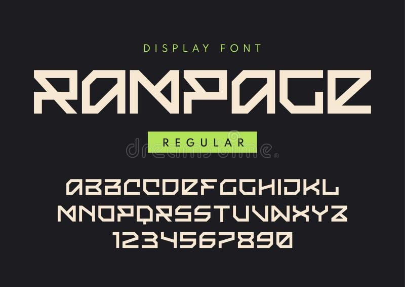 Namngav den moderna vanliga skärmstilsorten för vektorn raseri, blocky typefac stock illustrationer