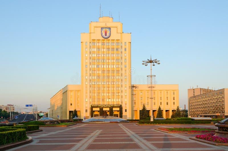 Namngett statligt pedagogiskt universitet för Belorussian efter Maxim Tank på självständighetfyrkanten, Minsk, Vitryssland royaltyfria bilder