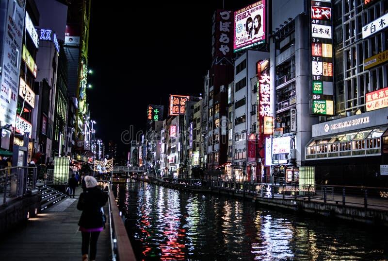 Nampa på nätterna i Osaka royaltyfria foton