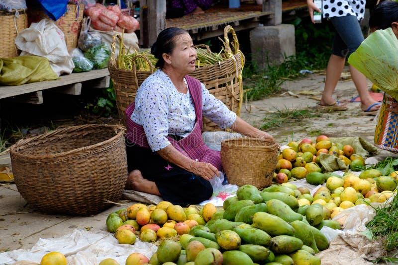 Nampan Inle sjö, Myanmar - 4 Juli, 2015: Kvinnan säljer ny vege royaltyfri fotografi