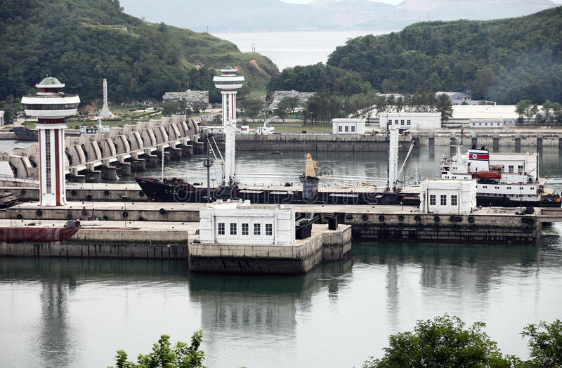 Nampo West Sea Barrage. Here is North Korea Nampo West Sea Barrage.A North Korean cargo ship is preparing to pass the dam. an 8km long dam separating the Taedong royalty free stock photos
