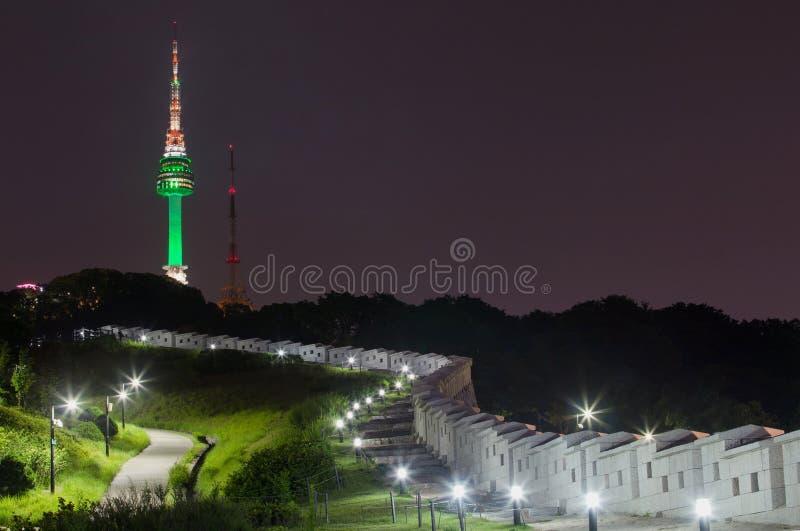 Namsan Park and N Seoul Tower South Korea. Namsan Park and N Seoul Tower at Night, South Korea stock photo