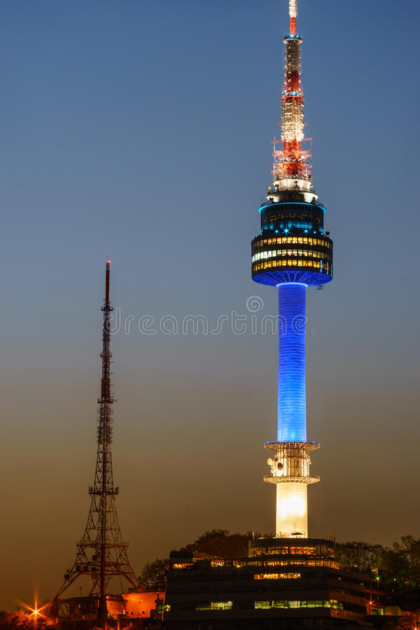Namsan Seoul Tower at night lit in blue royalty free stock images
