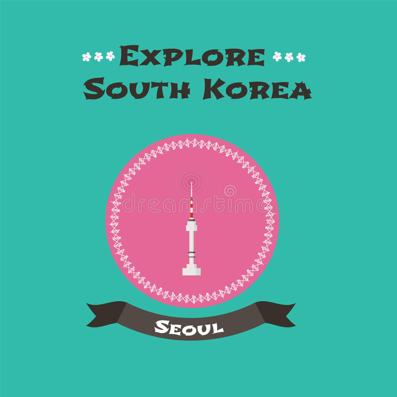 Namsan tower in Seoul, South Korea vector illustration royalty free illustration