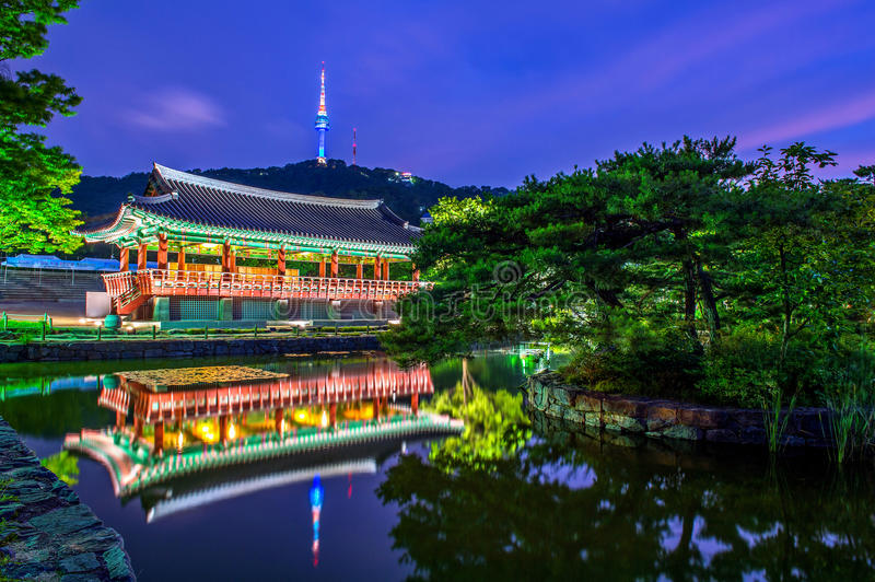 Namsangol Hannok Village and Seoul Tower. stock photo