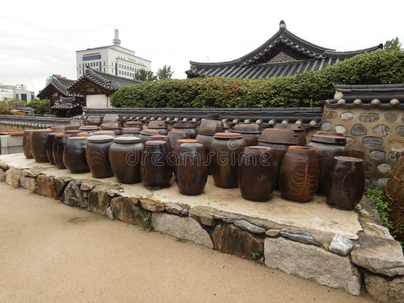 Namsangol Hanok Village. Picture taked in the garden of Namsangol Hanok Village located at Seoul in south korea stock photo