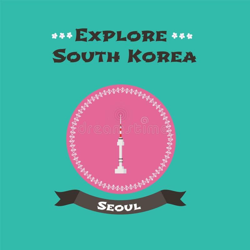 Namsantoren in Seoel, de vectorillustratie van Zuid-Korea royalty-vrije illustratie