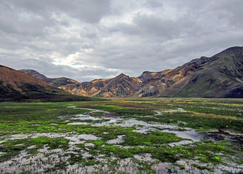 Namskvisl-Fluss, nahe bei dem Laugahraun-Lavafeld, Landmannalaugar, Fjallabak-Naturreservat, Hochland von Island, Europa stockfoto