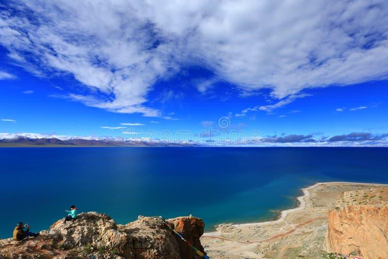 Blue sky and white cloud Namtso Lake, Tibet royalty free stock image
