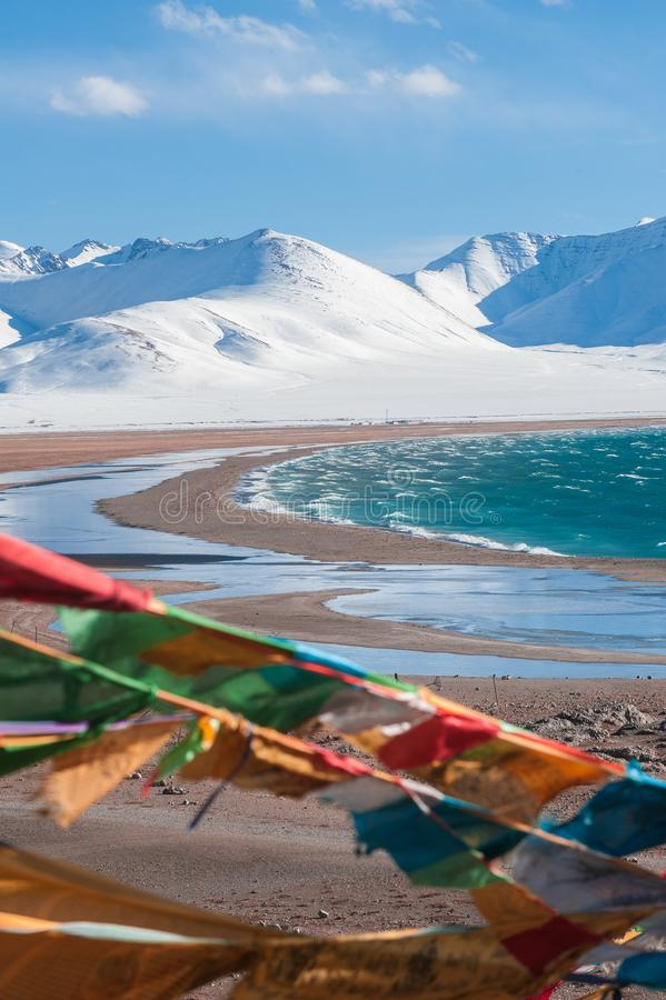 Tibet China, Namtso lake. Namtso lake means Heavenly Lake is one of most famous holy lake in Tibet. It locates over 4,700m above sea level and is only about royalty free stock photo