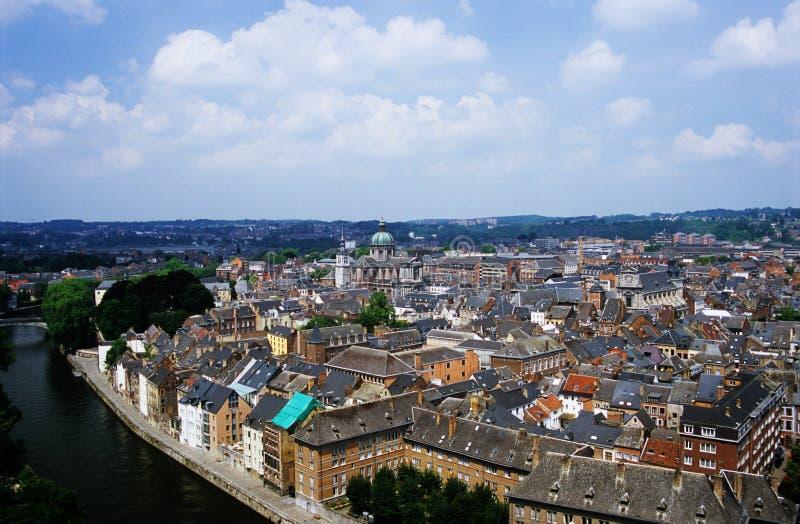 Namur Belgium. A view of the Wallonian city of Namur Belgium and the river Meuse, from the city's famous citadel stock images