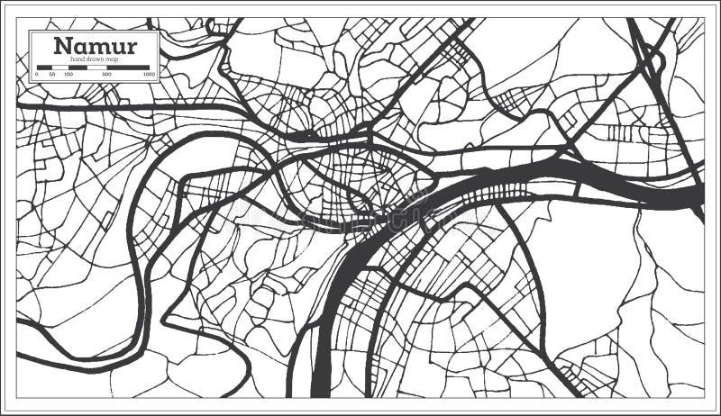 Namur Belgium Plan de la ville en noir et blanc Plan illustration libre de droits