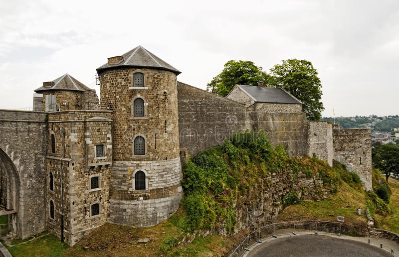 Namur castle in cloudy day stock photography