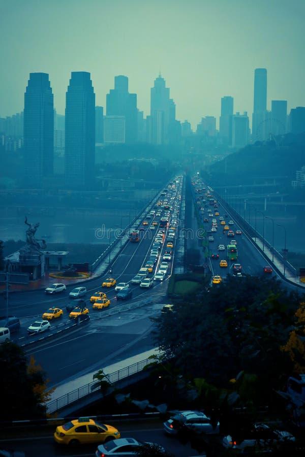 Nan een 'District van Chongqing, de Yangtze-Rivierbrug en het overzicht van de stad, royalty-vrije stock afbeeldingen