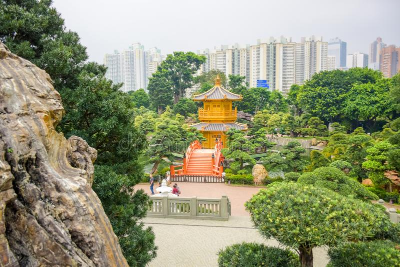 Nan Lian Garden, a Chinese Classical Garden in Diamond Hill, Hong Kong royalty free stock photo