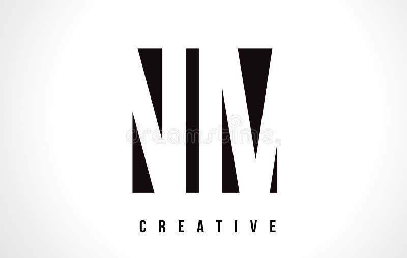 Nanômetro N M White Letter Logo Design com quadrado preto ilustração stock
