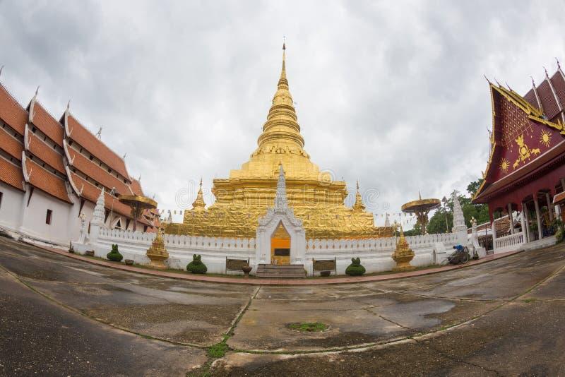 NAN, TAILANDIA 29 luglio: Tempio e Plac di Wat Phra That Chae Haeng immagine stock libera da diritti