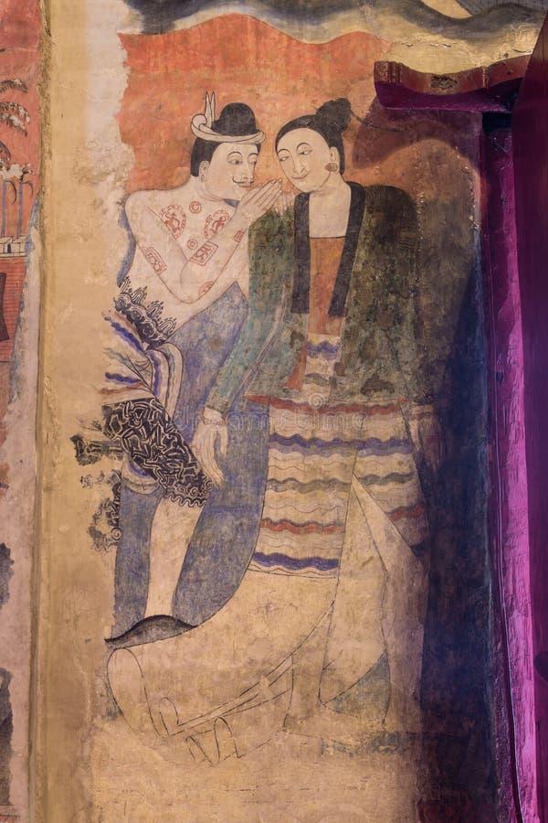 NAN, THAÏLANDE 29 juillet : Peintures murales antiques célèbres Ca de mur de Thailand's photo libre de droits