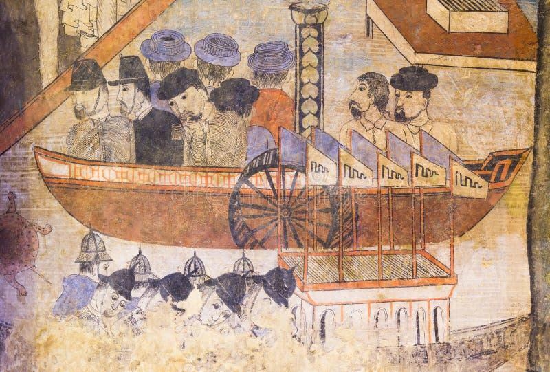 NAN THAILAND - APRIL 12: Traditionell thailändsk vägg- målning av th royaltyfria foton