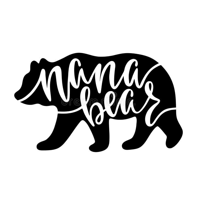 Nana björn Inspirerande citationstecken med björnkonturn Uttryck för handhandstilkalligrafi royaltyfria foton