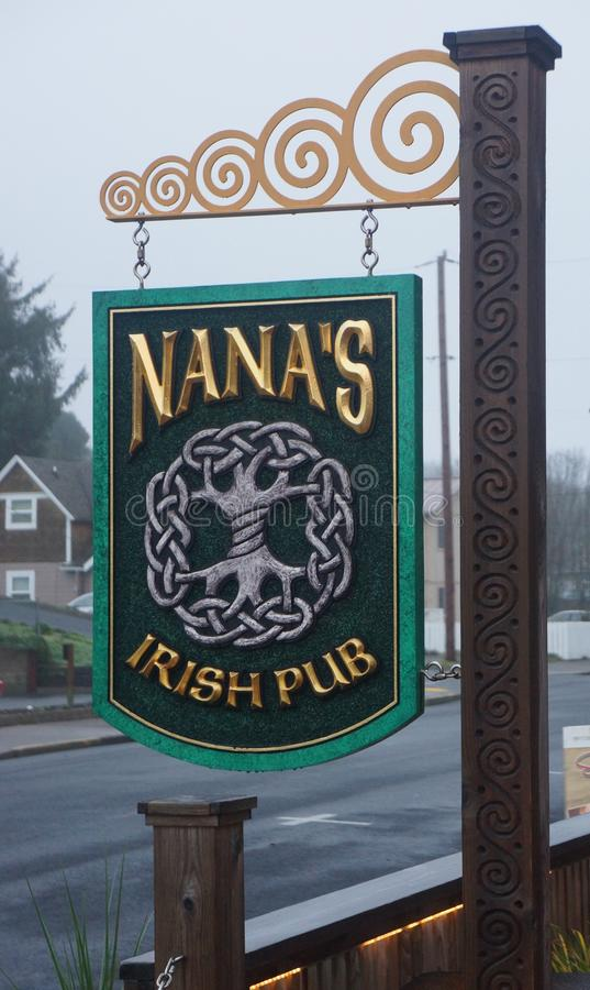 Nana's Irish Pub in Nye Beach. The best of Irish hospitality and corned beef in the Pacific NW. Nana's Irish Pub, hospitality, corned beef sandwich stock photo