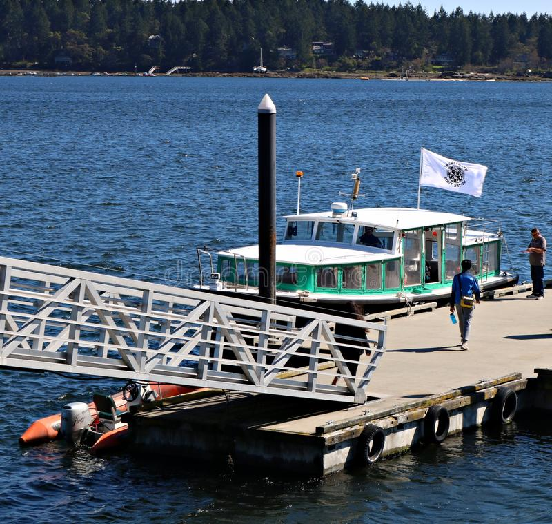 Teal and white Newcastle ferry getting ready to depart to island seen in behind. Nanaimo, British Columbia / Canada - April 20, 2019: Man ready to board the royalty free stock image