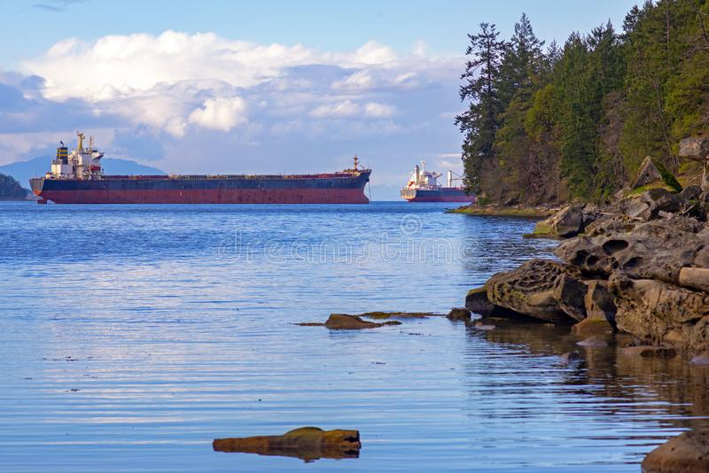Nanaimo Hafen und Georgia Strait von Jack Point im Vancouver Island stockfoto