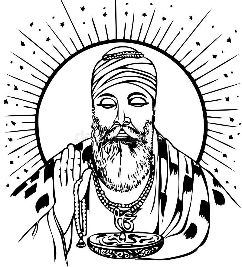 nanak гуру иллюстрация вектора
