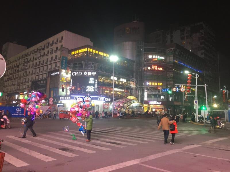 Nanchang& x27; s bloeiendste commerciële straat stock foto's