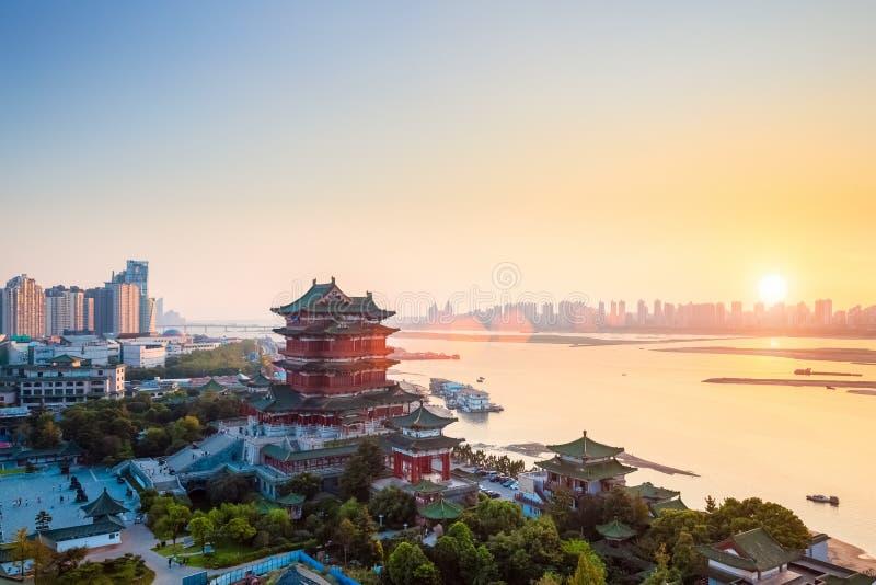 Nanchang-tengwang Pavillon an der Dämmerung stockfotografie